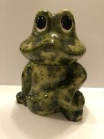 """Frog Cookie Jar Container Ceramic Excellent Condition 11.5"""" Tall Super Cute!"""