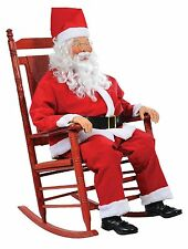 Christmas Fun Life-size Rocking Chair Santa Prop with Rotating Jolly Sayings