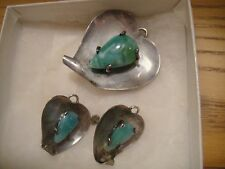 VINTAGE TURQUOISE 925 STERLING SILVER TURQUOISE PENDANT NECKLACE EARRINGS HEART