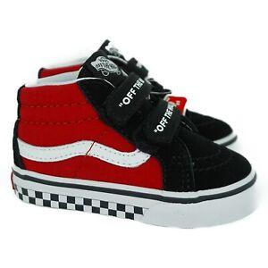 VN0A348JVI71 Vans SK8-Mid Reissue V Logo Pop (Black/ Red) Toddler Shoes Size 4.5