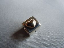 New Authentic Pandora Love You Engraved Heart Box  SS &14K Gold  #790200