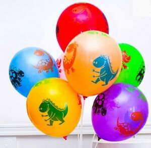 10x Colourful Dinosaur Cute Dino Latex Balloons Assorted Birthday Party Kids