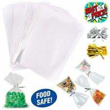 CLEAR CELLOPHANE SWEET POP GIFT HAMPER FOOD WRAP BAG LARGE SMALL CELLO WITH TIES
