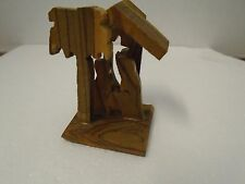 Nativity Christmas Creche Wooden Handmade Baby Jesus in Bed Manger Mary Joseph