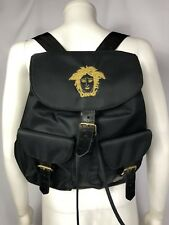 Rare Vtg Gianni Versace Black Nylon Croc Leather Gold Medusa Backpack