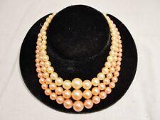 Vintage TRIPLE Strand GRADUATED PINK Peach FAUX PEARL Bib Necklace HongKong