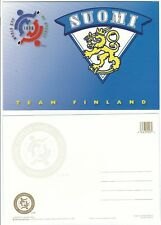 1996 World Cup of Hockey Tournament Postcard - FINLAND Logo BLUE