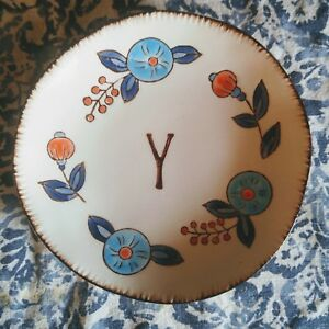 """Creative co-op letter """"Y"""" initial monogrammed small plate jewelry dish"""