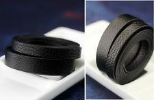 1Mx12 mm cordon plat black Faux Imitation Leather PU simili cuir noir REF 1909