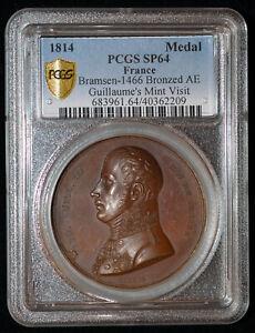 PCGS SP64 1814 France Friedrich Wilhelmo Prussia Mint visit Medal Rare