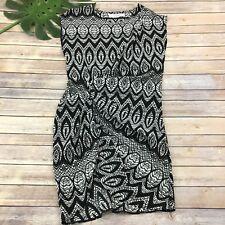 Thakoon Silk Sheath Dress Size 10 Black White Geometric Floral Sleeveless Draped