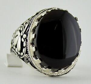 Yemen Black Aqeeq Aqiq Agate Stone, Yemeni Islamic Sterling Silver 925 Men Ring