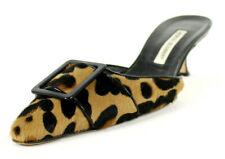 MANOLO BLAHNIK Leopard Calf Hair Buckle Vamp Kitten Heels Mules 39.5
