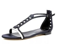 SERGIO ROSSI 3038 Women's Black White Leather Flat Sandals Size 37