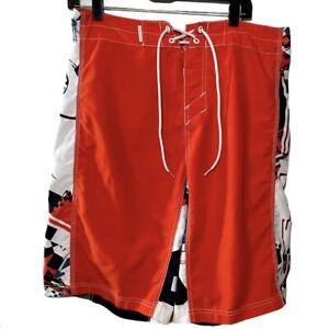 Oakley Board Shorts Men's Size 36  Wax Comb Surfing Beach Swim Red White Gray