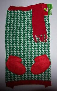 NWT GREEN WHITE AND RED SCARF WINTER DOG SWEATER XL X-Large Christmas Holiday