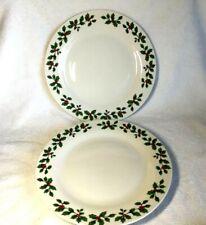"Royal Norfolk Christmas Dinner Plates 10.5"" Holly Berry Border Lot of 2 No gilt"
