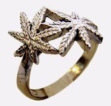 ring Grass Ganja marijuana marihuana hooligan # Sterling Silver 925 size 5-14