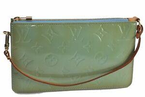 Authentic Louis Vuitton Vernis Lexington Pouch Light Green M91311 LV E2875