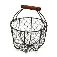 Round Chicken Wire Egg Basket with Wooden Handle Vintage Gathering Basket