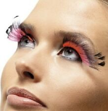 70s 80s Fancy Dress Feather Eyelashes Pink/Black Plume Lashes New by Smiffys