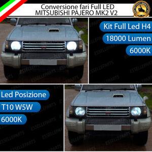 CONVERSIONE FARI LED MITSUBISHI PAJERO MK2 V2 LED H4 + LED POSIZIONE T10 6000K