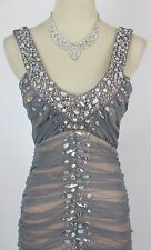 NWT City Triangles $157 Evening Prom Formal Silver Long Dress size 3 Gown Cruise