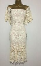 BN Coast Lace Bardot Neutral Cream Occasion Cocktail Dress UK Size 12