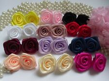 "1"" Mix Assorted (12 Colors) Polyester Satin Ribbon Roses Flowers-60 Pcs-R0016"