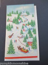 # I927- Vintage Unused Glitter Xmas Greeting Card Winter Sleigh Ride in Town