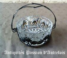 B2017941- Jolie corbeille en verre et métal argenté - Très bon état