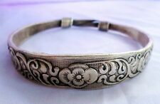 Old Hmong Hill Tribe Unisex Silver Bracelet Floral Design