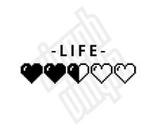 Heart life bar pixel 8 bit zelda retro game vinyl sticker decal nintendo