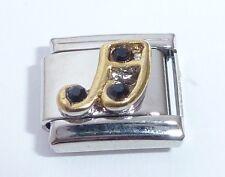 GOLD MUSIC NOTE Italian Charm BLACK GEMS 9mm fits Classic Starter Bracelets E20