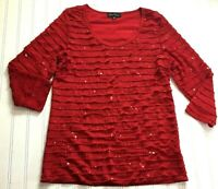 Slinky Brand Top Woman M Red Sparkly Sequin Ruffles Stretch Pullover Shirt
