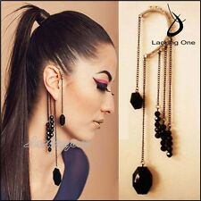 Rock Punk Exquisite Black Beads Long ChaIn Tassels Ear Cuff EarRing-Black
