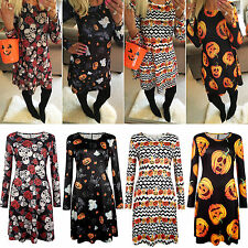 Women Skull & Rose Pumpkin  Swing Midi Dress Halloween Party Evening Fancy Dress