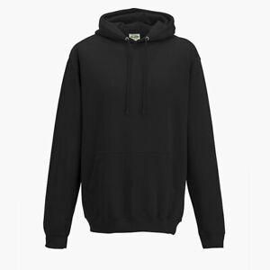 AWDis Just Hoods College Hoodie HOODED SWEATSHIRT JUMPER TOP Jet Black