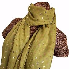 MUSTARD GREEN SCARF WITH ROSE GOLD FOIL STARS STAR DESIGN LADIES SUPERB QUALITY