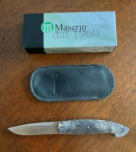 Maserin Consoli Knife, Black Burl Wood, N690 Blade, Excellent Condition!