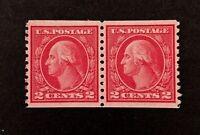 US Stamps, Scott #455 2c 1915 Washington coil pair 2007 PSE Cert - GC XF 90
