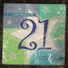 LIFE BEGINS @ 21 HAPPY BIRTHDAY NAPKINS SERVIETTES BRAND NEW IN PACKAGING PARTY
