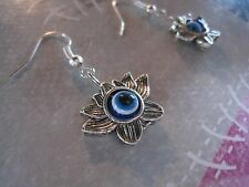 Tibetan silver earrings Greek evil eye flower earrings  Made in GR ELGR