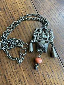 Qing Dynasty Antique Silver Chatelaine Pendant Necklace Coral