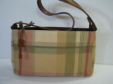 FOSSIL Vintage MADRAS PLAID PURSE Green/Pink LEATHER & WOOD TRIM Small Size
