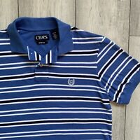CHAPS BY RALPH LAUREN Striped Polo Shirt - Size Small - Blue/White - Summer