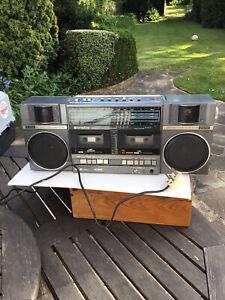 Vintage 1980s HITACHI TRK  Boombox Ghetto Blaster Portable Radio Twin Cassette