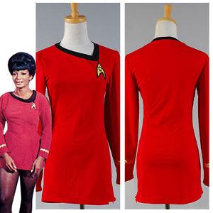 Star Trek TNG Female Duty Uniform Halloween Dress Cosplay Costume Color Red