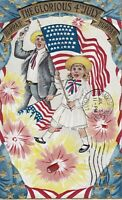 """Hurrah  """"The Glorious 4th of July"""" w/ Girl-Man-Flag-Firecrackers Postcard - 100"""