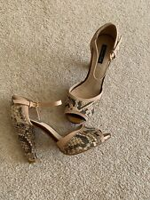 Ladies Massimo Dutti Size 4 New Beige Faux Snakeskin High Heel Shoes
